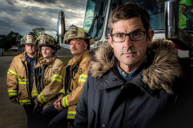 Theroux with Huntingdon's fire-fighters, who respond to multiple callouts every
