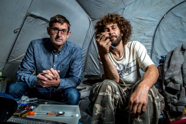 Theroux with heroin user Nate Walsh , who lives in a tent on the banks of of the Ohio