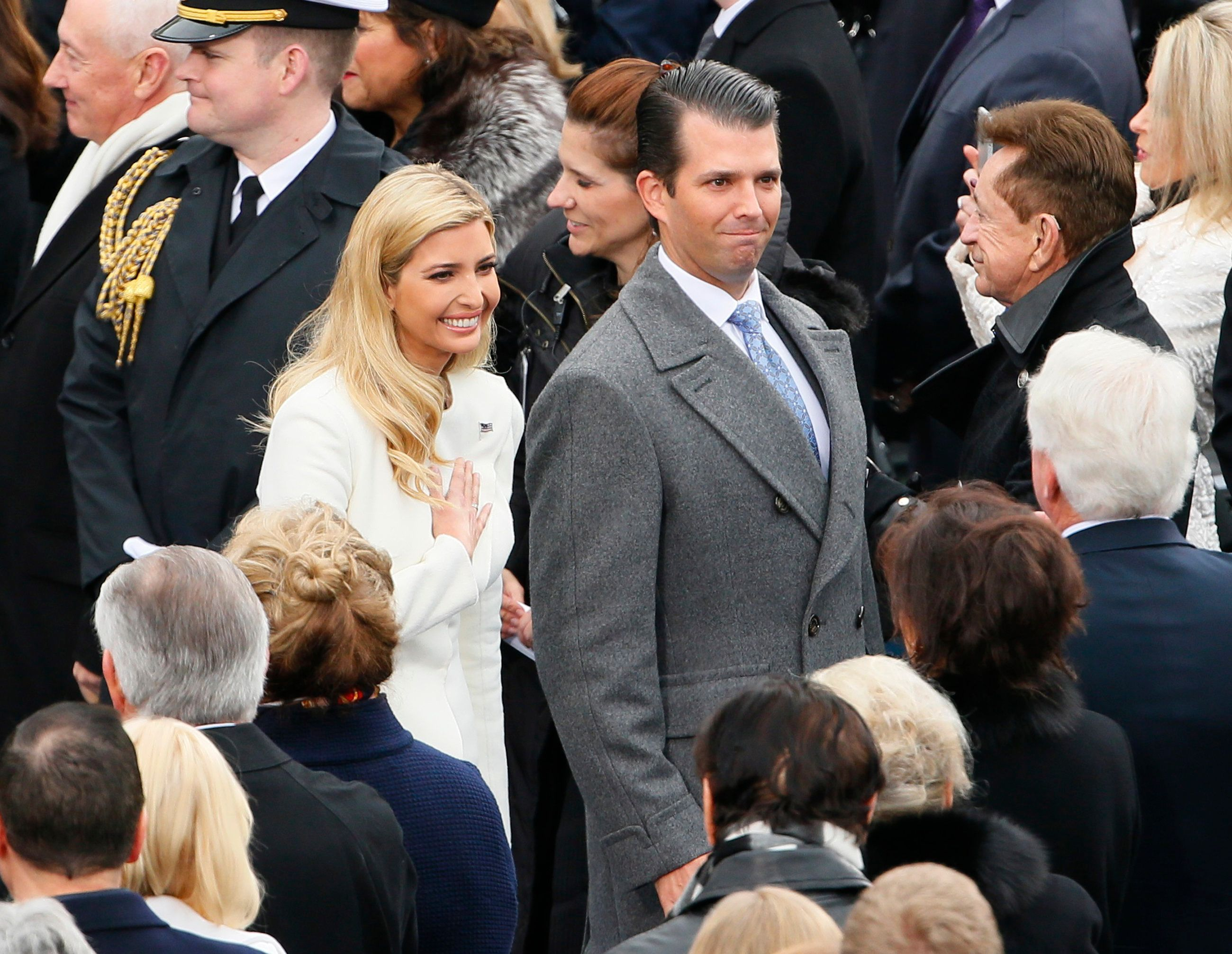 Donald Trump Jr. arrives with Ivanka Trump during inauguration ceremonies swearing in Donald Trump as the 45th president of the United States on the West front of the U.S. Capitol in Washington, U.S., January 20, 2017. REUTERS/Rick Wilking