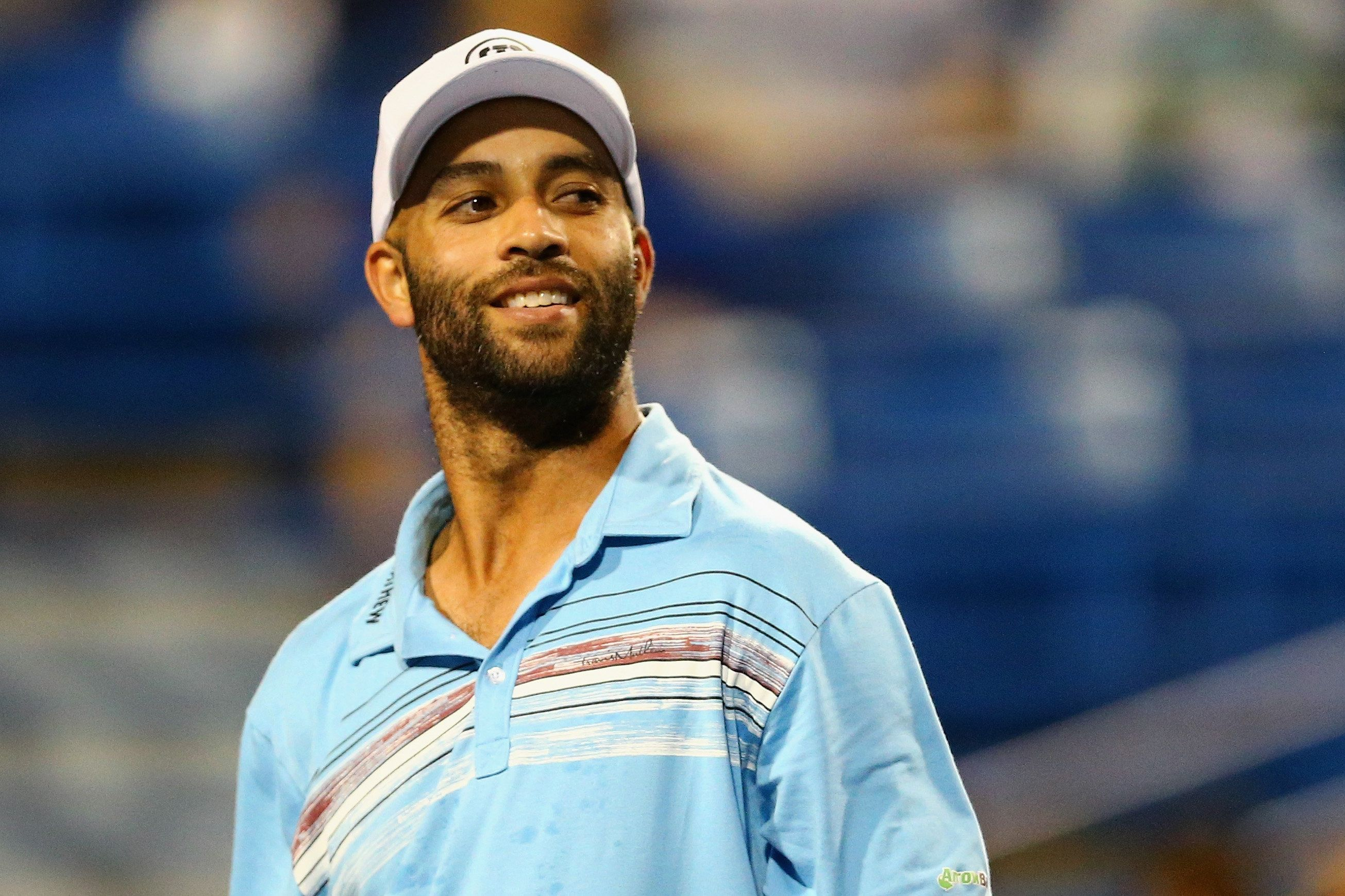 NEW HAVEN, CT - AUGUST 27:  James Blake looks on during his match against Andy Roddick as part of the Men's Legends presented by PowerShares Series on Day 4 of the Connecticut Open at Connecticut Tennis Center at Yale on August 27, 2015 in New Haven, Connecticut.  (Photo by Maddie Meyer/Getty Images)
