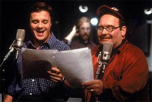 "Nathan Lane & Ernie Sabella in a ""Lion King"" recording session."