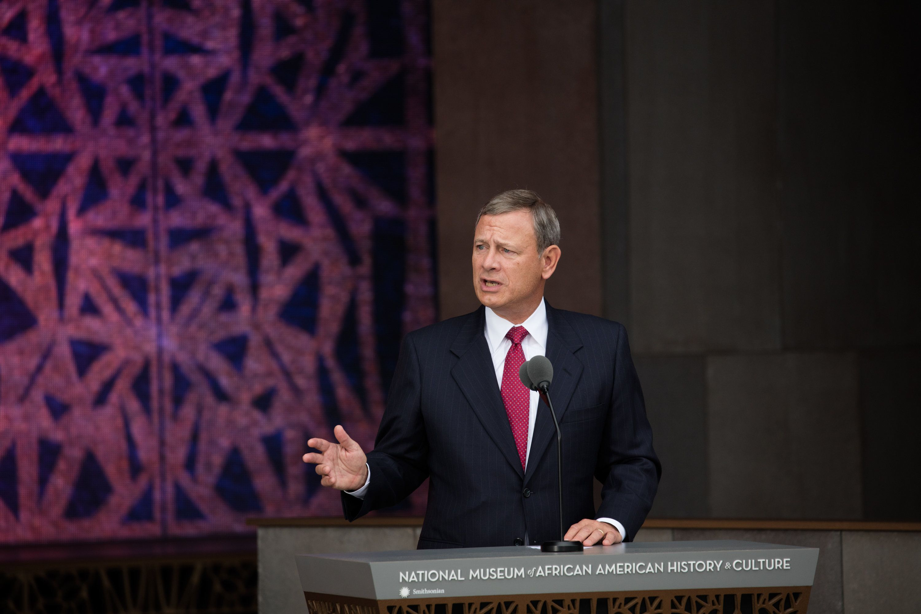 Supreme Court Chief Justice John Roberts speaks at the opening of the National Museum of African American History and Culture, Washington DC, September 24, 2016. (Photo by David Hume Kennerly via Bank of America/Getty Images)