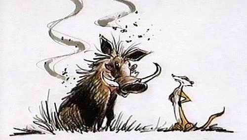 Early concept art for Pumbaa the warthog and Timon the meerkat.