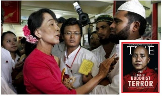 Myanmar State Counselor Aung San Suu Kyi (left) and Buddhist monk Wirathu (inset) are embroiled in the Rohingya Muslim violen