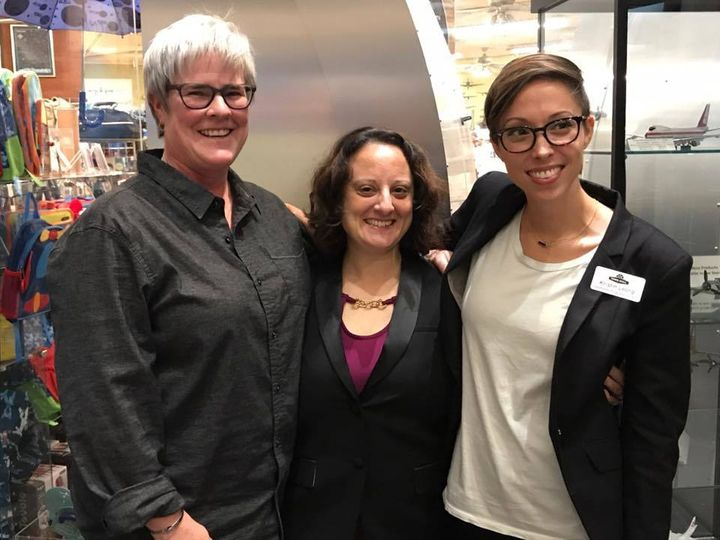 Maj. Margaret Witt, Sarah Toce, and Kristin Leong at the Town Hall Seattle Museum of Flight special event Sept. 26.