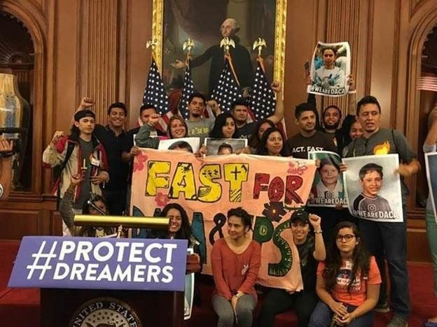Dreamers fast to call attention to Donald Trump's action to rescind DACA.