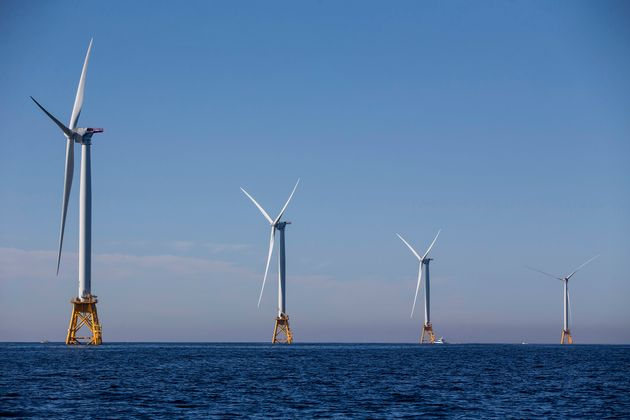The five new 6 megawatt wind turbines off the coast of Block Island, Rhode Island, are expected to produce...