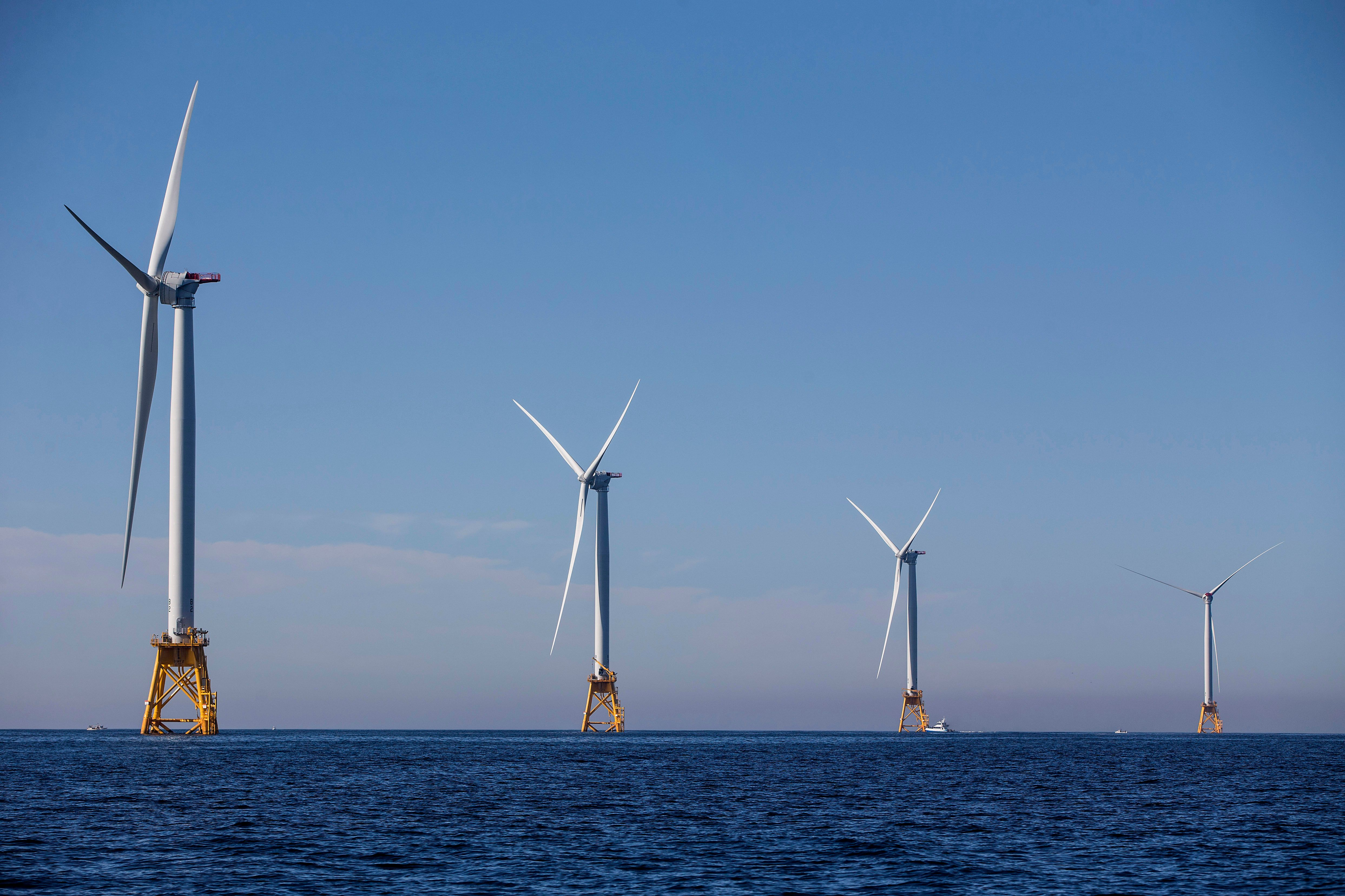 The five new 6 megawatt wind turbines off the coast of Block Island, Rhode Island, are expected to produce more energy than t
