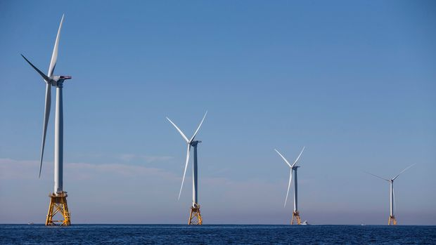NEW SHOREHAM, RI - SEPTEMBER 22:  The GE-Alstom Block Island Wind Farm stands 3 miles off of Block Island on September 22, 2016 New Shoreham, Rhode Island. The five 6-megawatt wind turbines are expected to produce more energy than Block Island needs. (Photo by Scott Eisen/Getty Images)