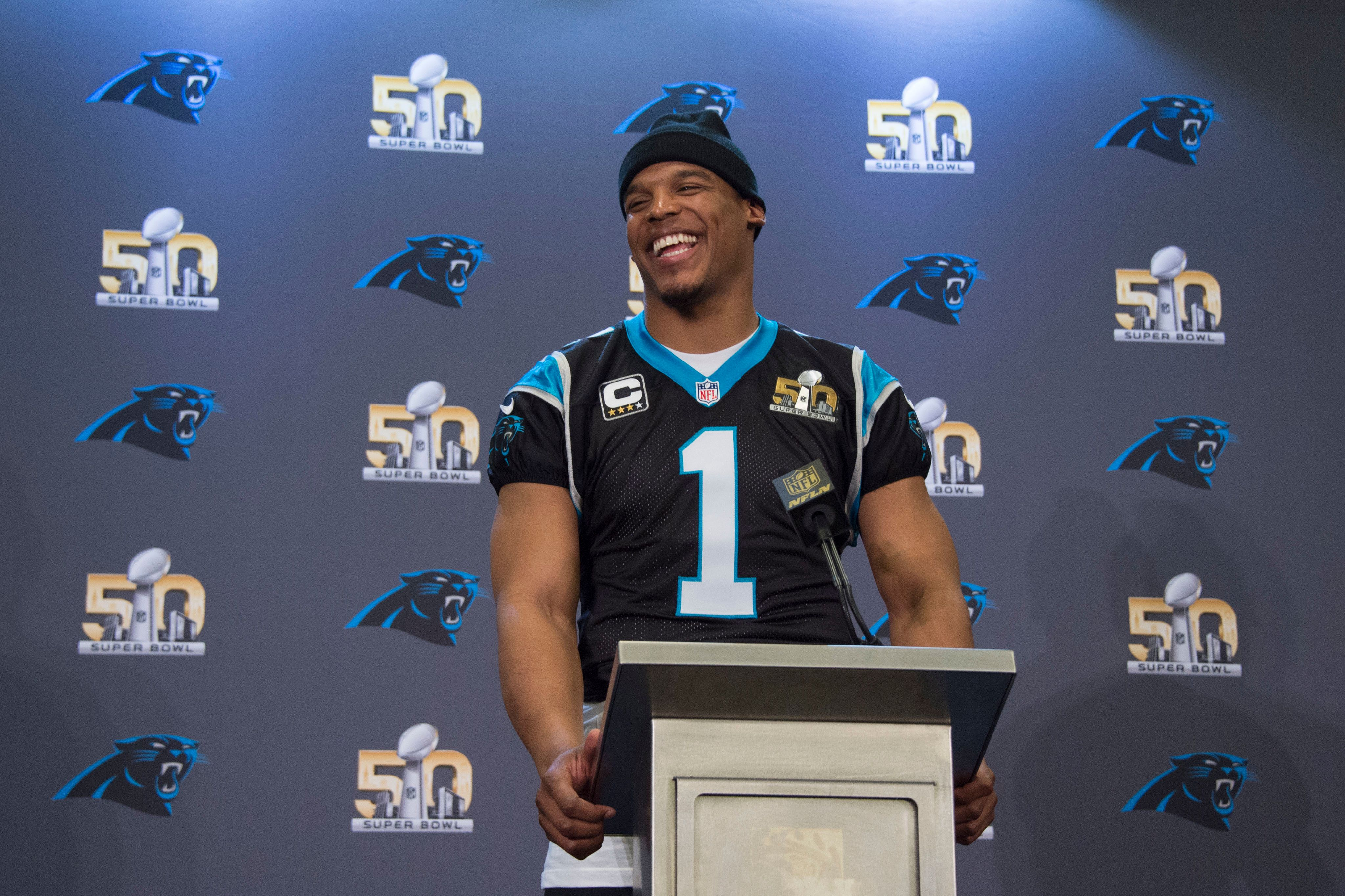 February 4, 2016; San Jose, CA, USA; Carolina Panthers quarterback Cam Newton (1) addresses the media in a press conference prior to Super Bowl 50 at San Jose Convention Center. Mandatory Credit: Kyle Terada-USA TODAY Sports