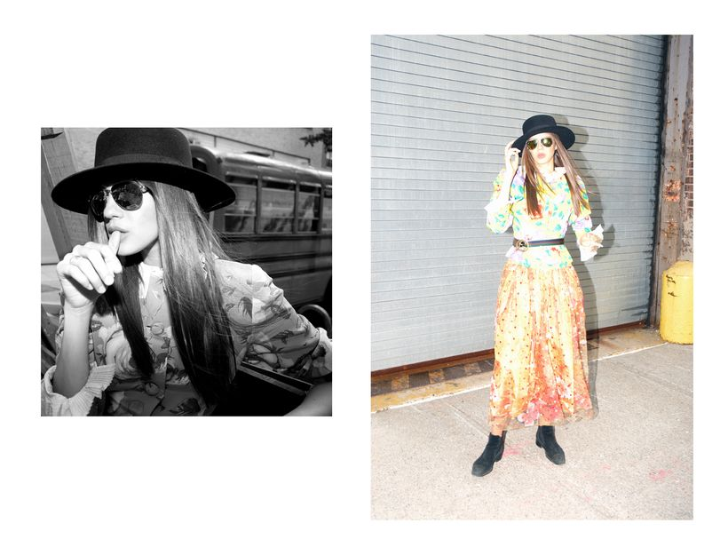 right image<strong> </strong> Axelle is wearing <strong>YSL</strong> hat. <strong>Chanel</strong> sunglasses. <strong>Dior</s