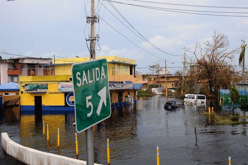 Flood waters remain high in Carolina, Puerto Rico, Sept. 22, 2017, after Hurricane Maria slammed the island. Puerto Rico Nati