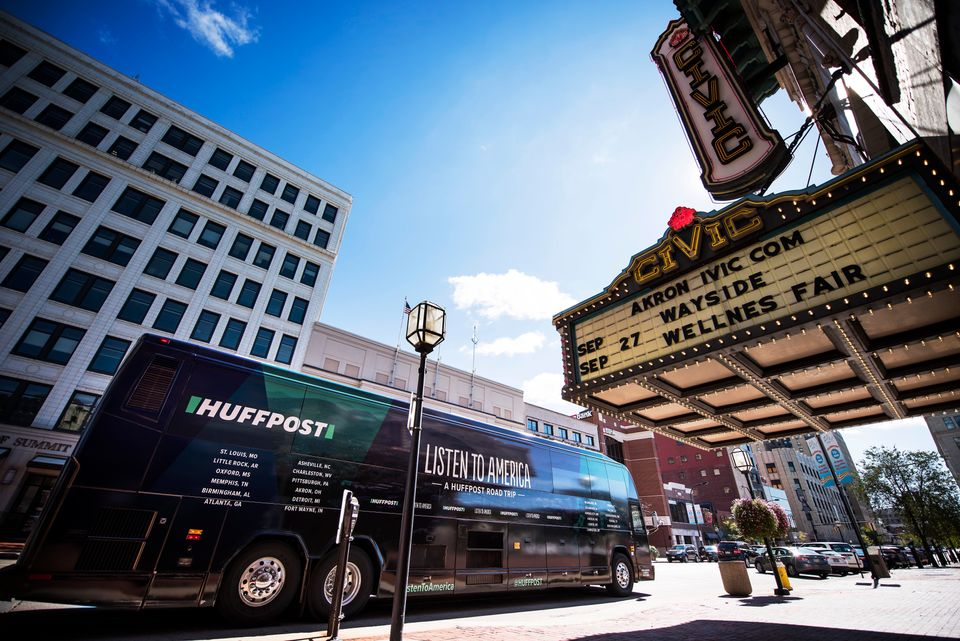 """The HuffPost busparks in front of the Akron Civic Theater in Ohio during """"Listen To America: A HuffPost Road Trip."""" The"""