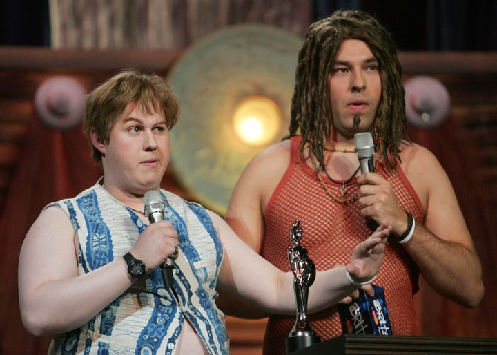 Matt and David Walliams sent up Gary Barlow and Howard Donald from Take That in their 'Rock Profiles' spoof.