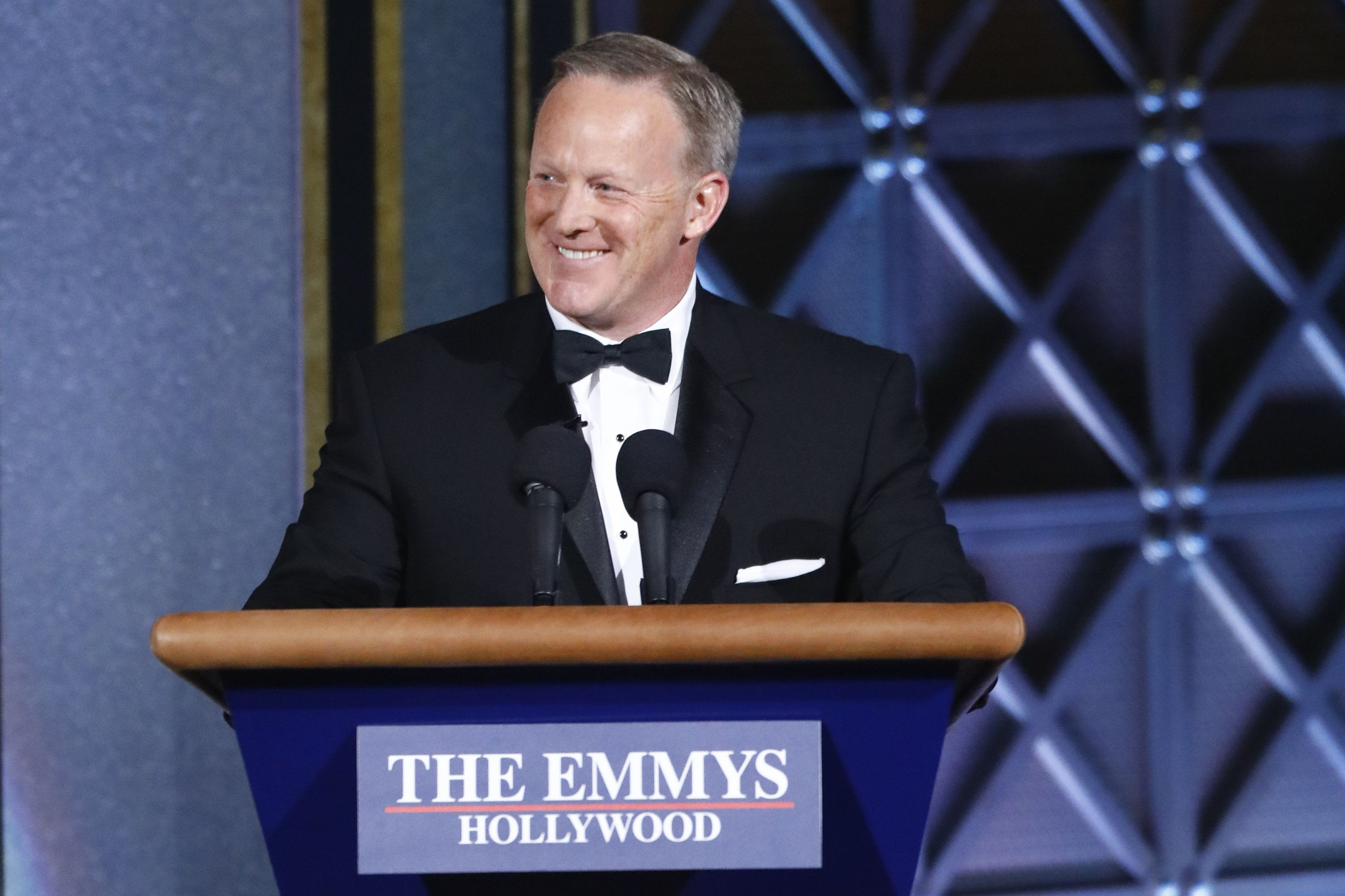 LOS ANGELES - SEPTEMBER 17: Sean Spicer at the 69TH PRIMETIME EMMY AWARDS, LIVE from the Microsoft Theater in Los Angeles Sunday, Sept. 17 (8:00-11:00 PM, live ET/5:00-8:00 PM live PT) on the CBS Television Network.  (Photo by Trae Patton/CBS via Getty Images)