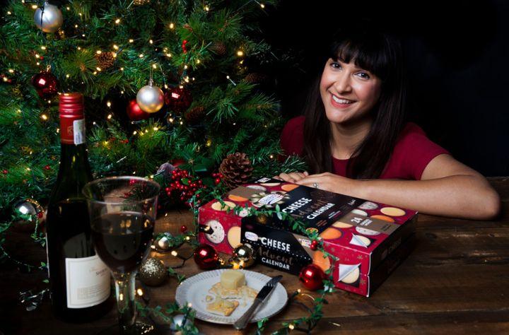 Annem proudly shows off her advent calendar.