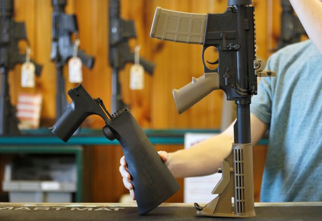 A bump stock sold in Utah on Oct. 4,