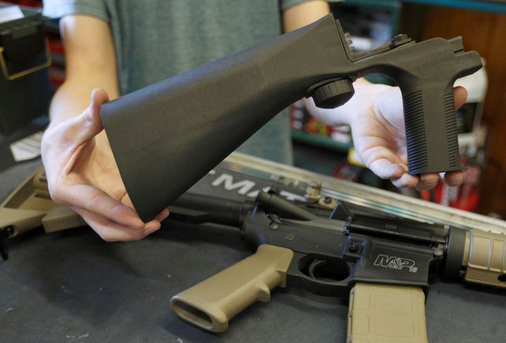 A bump fire stock that attaches to an semi-automatic assault rifle to increase the firing rate is seen at Good Guys Gun Shop