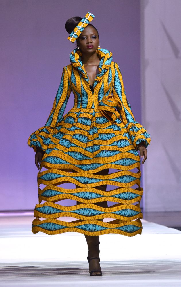 A design by African designer Patricia Waota made with Vlisco during the 170th anniversary of the manufacturer...