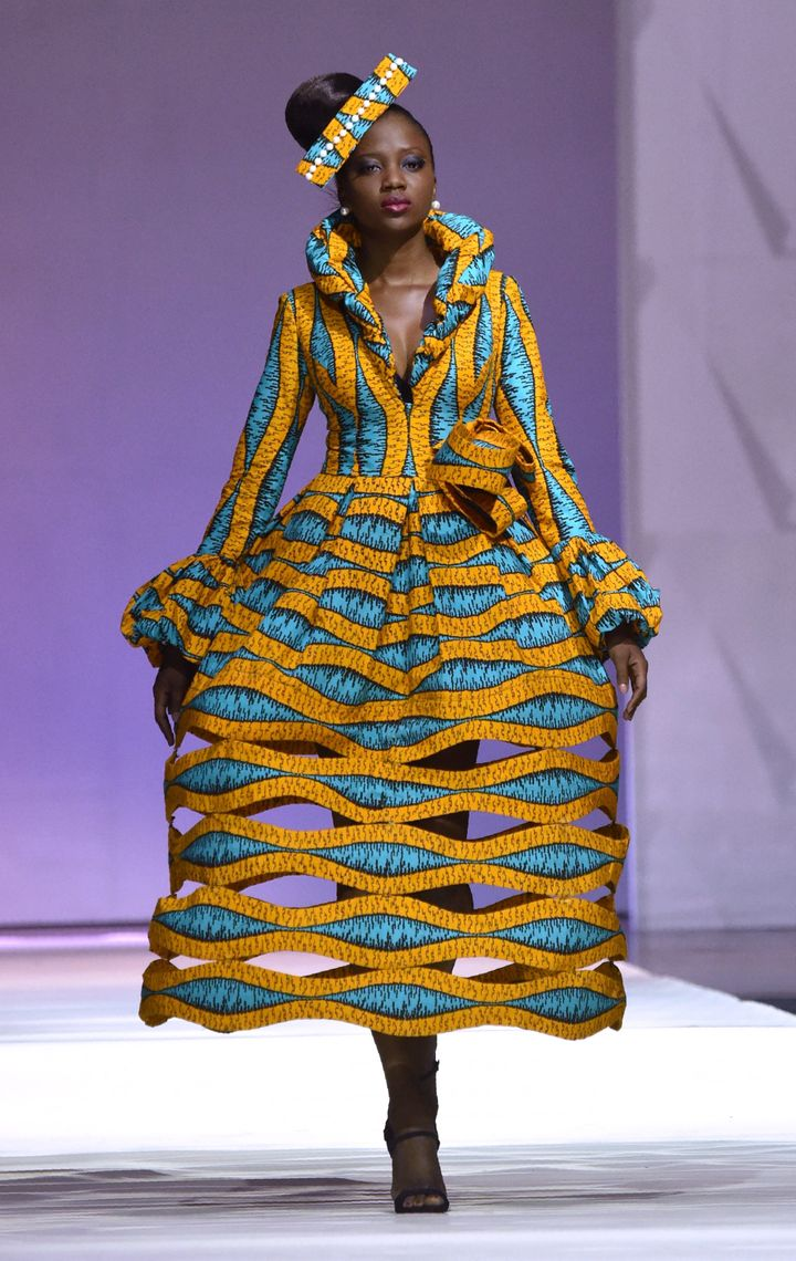 "A design by <a href=""http://dream.vlisco.com/patricia-waota/"" target=""_blank"">African designer Patricia Waota</a> made with Vlisco during the 170th anniversary of the manufacturer in Abijan, November 2016."