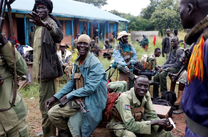 SPLA-IO (SPLA-In Opposition) rebels rest in Yondu, the day before an assault on government SPLA (Sudan People's Liberation Ar