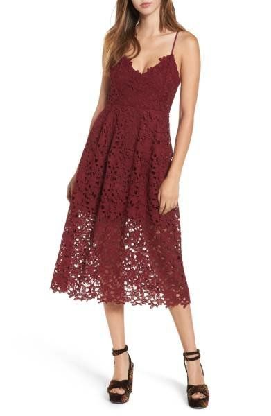 "Get this adorable lace midi in a gorgeous arrange of autumnal colors at <a href=""http://shop.nordstrom.com/s/astr-the-label-l"