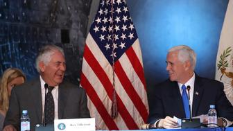 CHANTILLY, VA - OCTOBER 05:  Vice President Mike Pence (R), and Secretary of State Rex Tillerson participate in the inaugural meeting of the National Space Council, titled 'Leading the Next Frontier' at the National Air and Space Museum, Steven F. Udvar-Hazy Center, October 5, 2017 in Chantilly, Virginia. Originally established in 1958, this is the first meeting of the newly reestablished council in 20 years.  (Photo by Mark Wilson/Getty Images)