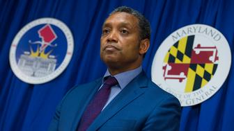 UNITED STATES - JUNE 12: D.C. Attorney General Karl Racine and Maryland Attorney General Brian Frosh, off camera, conduct a news conference on a lawsuit they've filed against President Donald Trump alleging he violated emoluments clauses in the Constitution by accepting foreign payments through his businesses on June 12, 2017. (Photo By Tom Williams/CQ Roll Call)