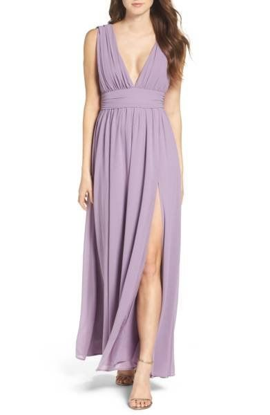 "This plunging v-neck gown comes in so many colors that will complement any fall wedding theme. Get it at <a href=""http://shop"
