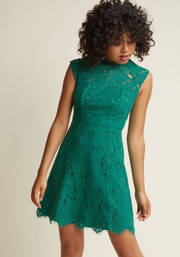 "We love this lace spearmint mini that can be worn for many special occasions to come. Get it <a href=""https://www.modcloth.co"