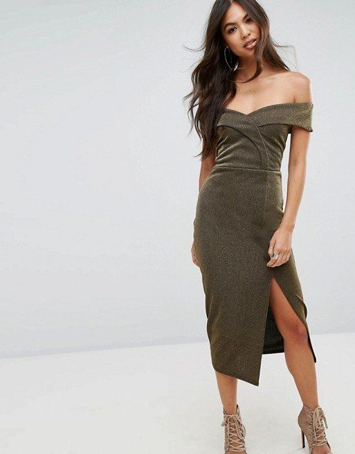 "Take fancy to the next level with this bardot-style split midi dress. Get it at <a href=""http://us.asos.com/outrageous-fortun"