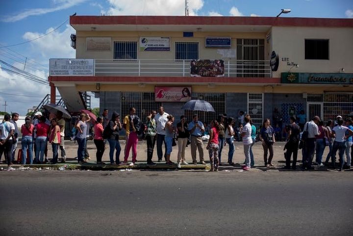Queuing for food has become a daily chore in Venezuela, where people have lost an average of 19 pounds in under two years.