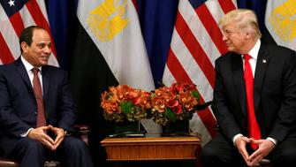 U.S. President Donald Trump meets with Egyptian President Abdel Fattah al-Sisi during the U.N. General Assembly in New York, U.S., September 20, 2017. REUTERS/Kevin Lamarque