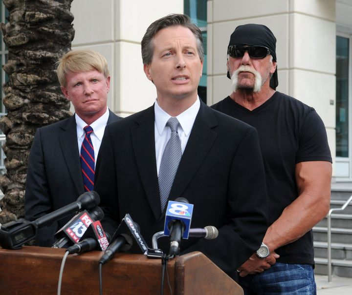 Charles Harder, center, speaks during a press conference with his client Hulk Hogan and fellow attorney David Houston, left,