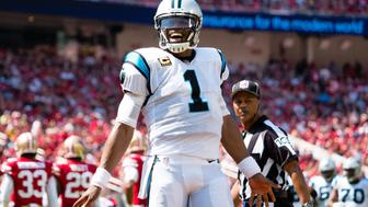 Sep 10, 2017; Santa Clara, CA, USA; Carolina Panthers quarterback Cam Newton (1) celebrates after a touchdown against the San Francisco 49ers during the first quarter at Levi's Stadium. Mandatory Credit: Kelley L Cox-USA TODAY Sports
