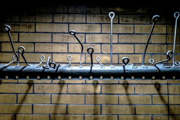 Coat hooks in the General Electric clubhouse that have gone unused for decades.