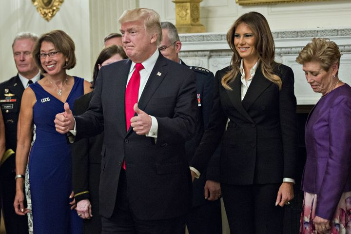 President Donald Trump and first lady Melania Trump were hosting a dinner with senior military leaders Thursday night.