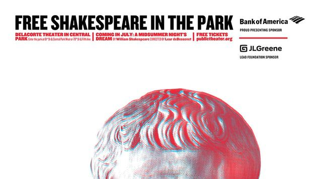The top of a publicity poster for the Public's staging of <em>Julius Caesar </em>shows how important Bank of America's sponso