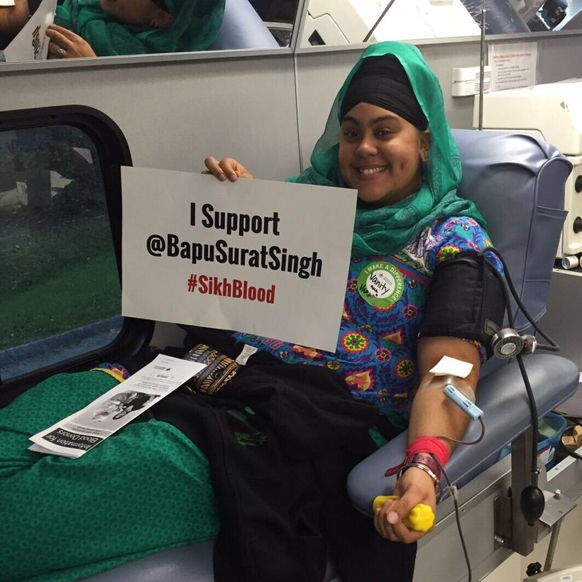 """post your donation photo on social media using #SikhBlood and tag <a rel=""""nofollow"""" href=""""https://twitter.com/bapusuratsingh"""""""