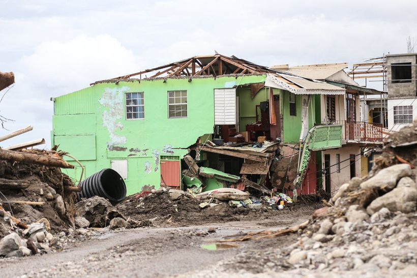 <em>House destroyed in Dominica, one of the worst hit Caribbean islands</em>