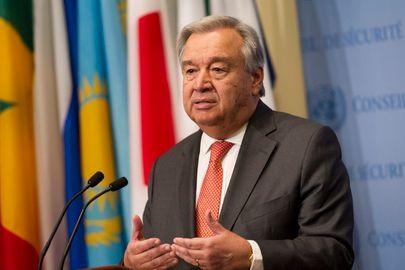 <em>UN Secretary-General Guterres speaks to press on hurricanes in Eastern Caribbean</em>