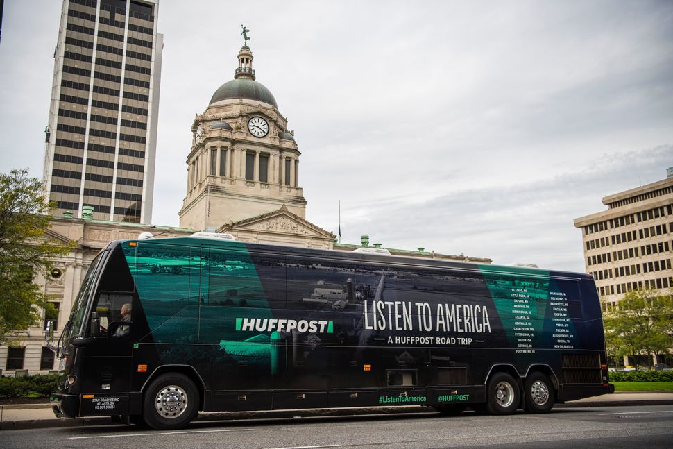 """The HuffPost tour bus sits in front of the Allen County Courthousein Fort Wayne, Indiana, on Oct. 5, 2017, as part of """""""