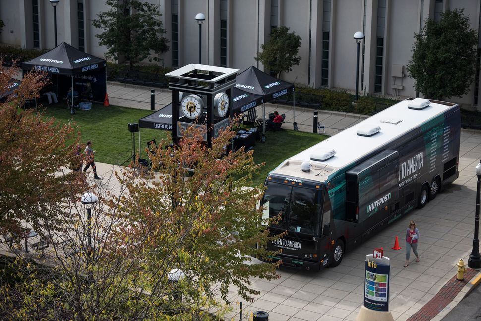 The tour bus sits at the Allen County Library Plaza.
