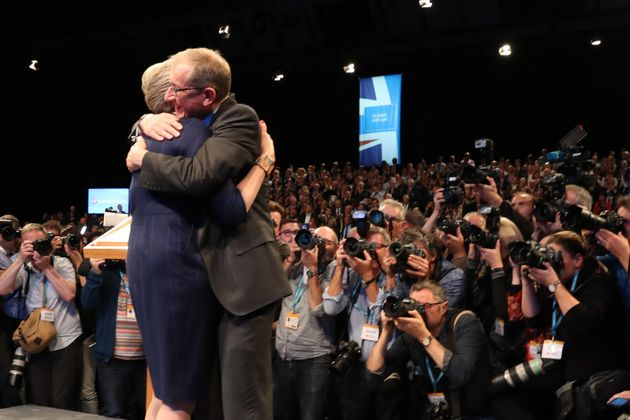 Philip May hugging his wife after her conference