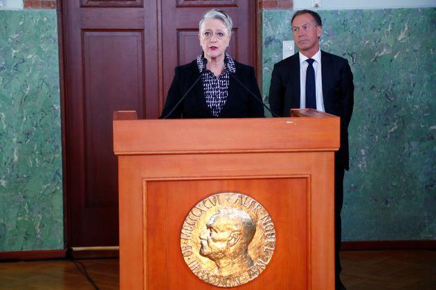 Berit Reiss-Andersen, Chairman of the Norwegian Nobel Committee, announces the laureate of the Nobel...