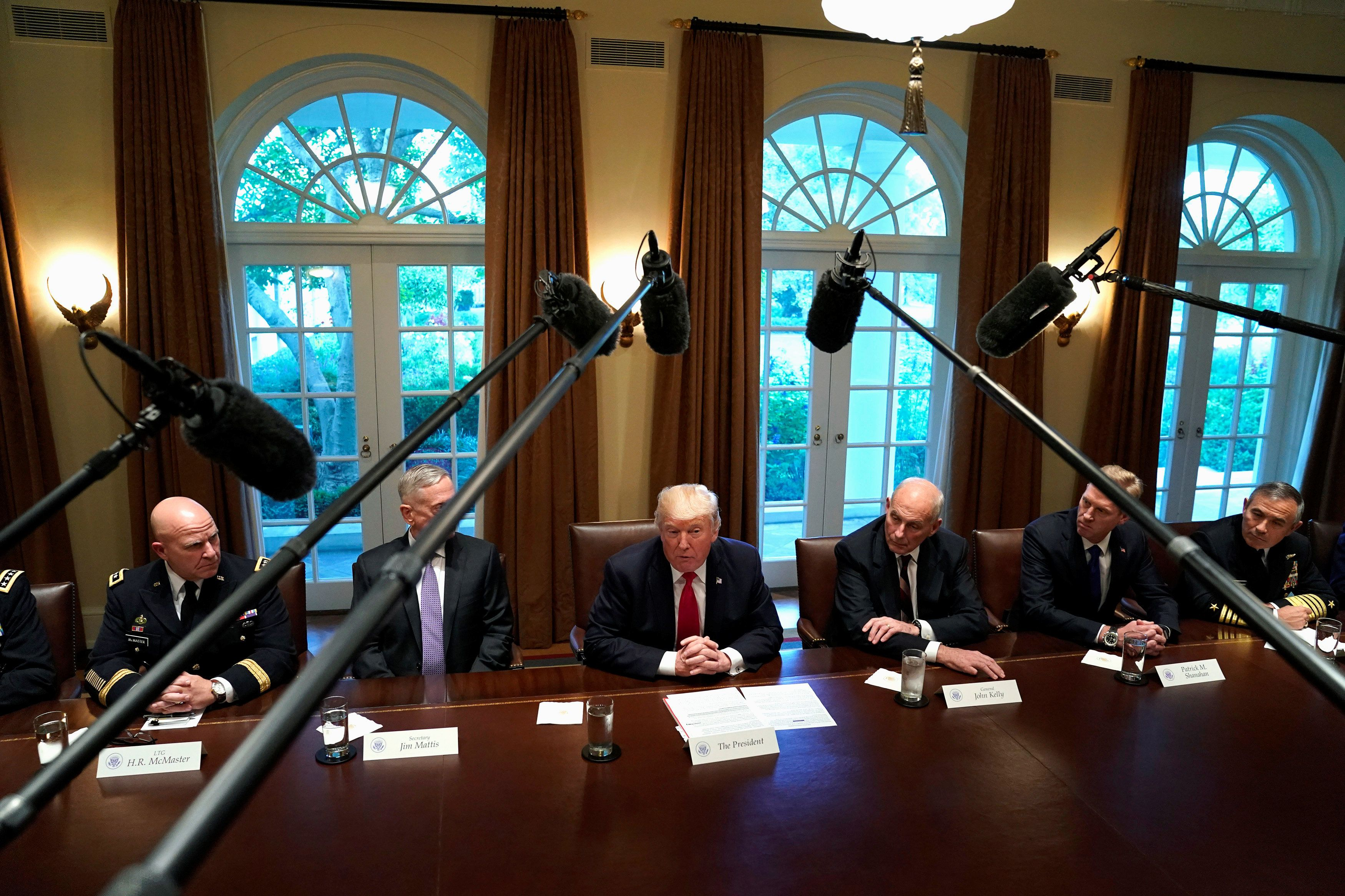 Trump and his senior military advisors on