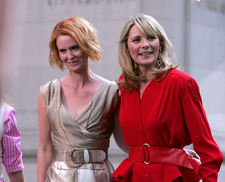 "Cynthia Nixon and Kim Cattrall on the set of ""Sex In The City: The Movie."""