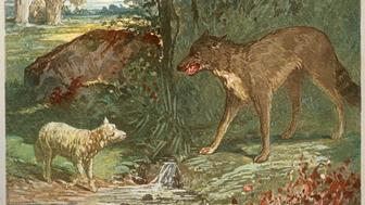 Jean Jacques Grandville (1803-1847), French School, The Wolf and the Lamb, Chromolithograph of 1892, from La Fontaine's fables, published by Garniers et Freres, Private Collection, C17464. (Photo by: Christophel Fine Art/UIG via Getty Images)