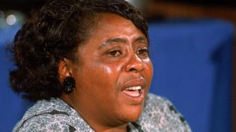 American civil rights leader Fannie Lou Hamer (1917 - 1977) testifies before the Credentials Committee at Democratic National Convention in speech that was televised nationally, Atlantic City, New Jersey, August 22, 1964. Hamer spoke on behalf of the Mississippi Freedom Democratic Party who had been denied seats at the convention by organizers acting on behalf of the 'regular' Mississippi democratic party's delegation. (Photo by John Dominis/The LIFE Picture Collection/Getty Images)