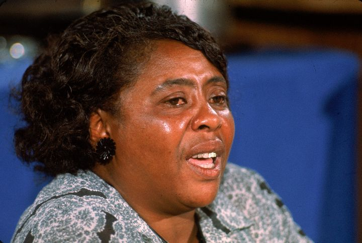 American civil rights leader Fannie Lou Hamer testifies on behalf of the Mississippi Freedom Democratic Party, which had
